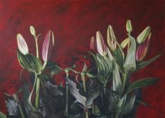 lelies en rozen acryl op linnen 140 bij 100 cm