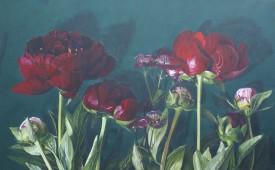 pioenrozen acryl op linnen 160 x 100 cm